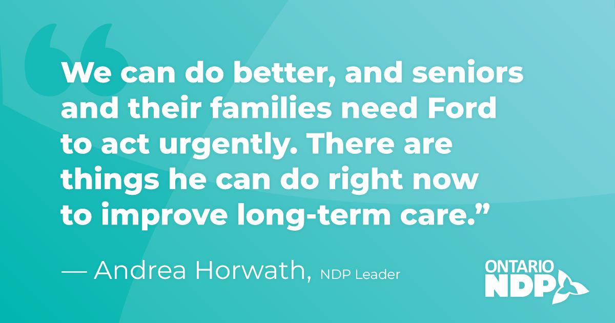 Seniors can't wait: Horwath calls for long-term care ...